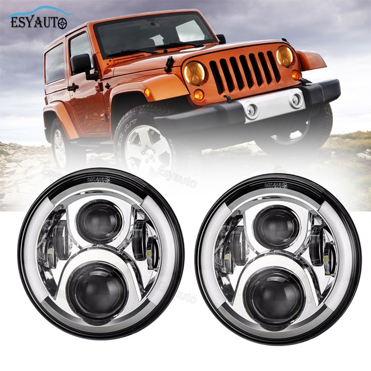 2PCS 7 inch LED Headlight with Side Halo Angel Eye Hi/lo Beam Headlight white DRL Yellow turning lamp for Jeep Wrangler JK - TJ  #Affiliate