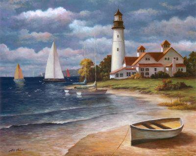 Thomas Kinkade Pintura Pinturas Farol por Thomas Kinkade