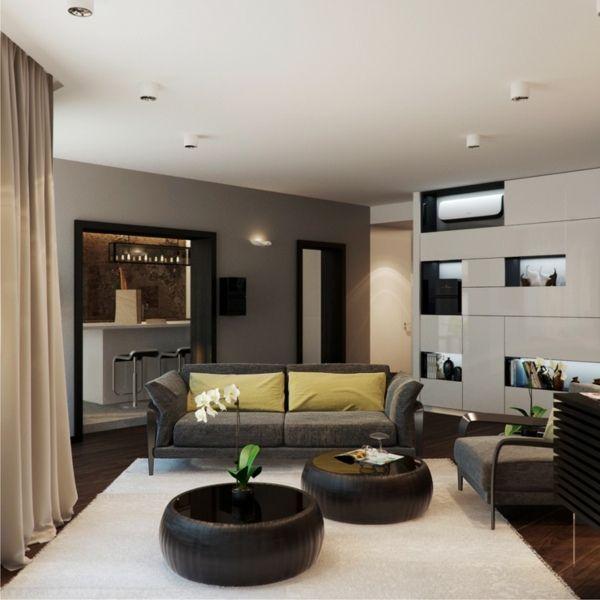 salon moderne avec tables bassses rondes