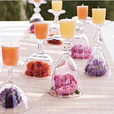 wine glass candles