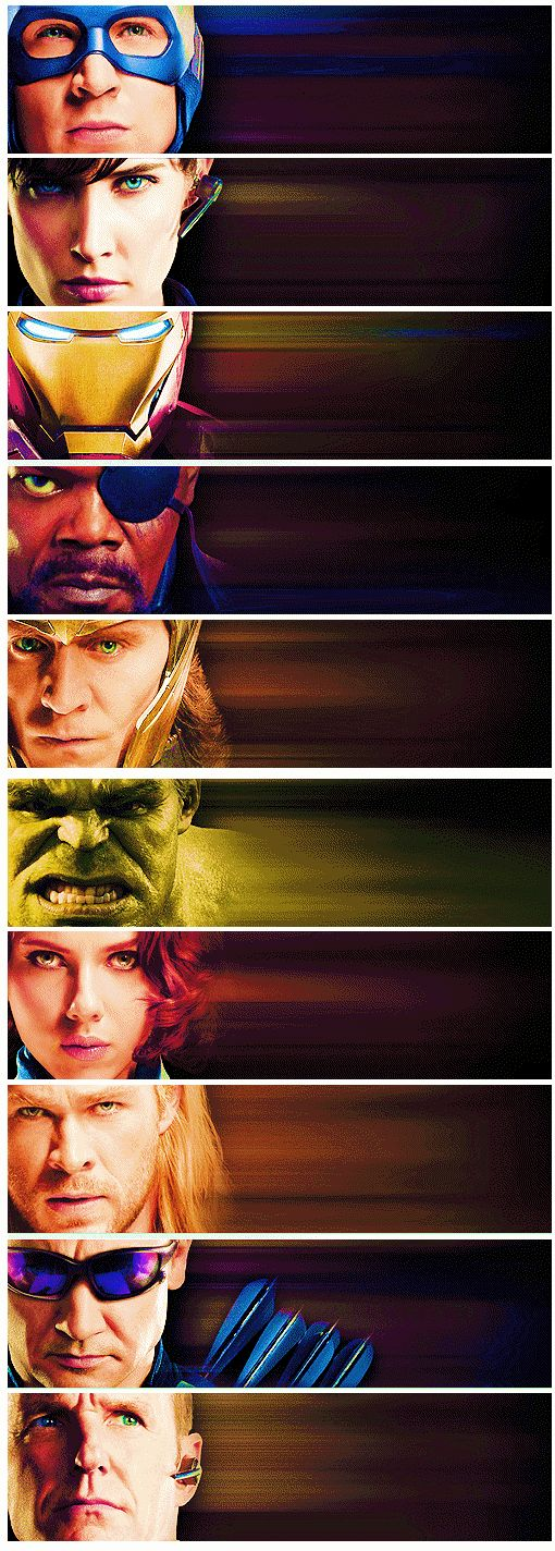 Captain America, Maria Hill, Iron Man, Nick Fury, Loki, The Hulk, Black Widow, Thor, Hawkeye, Phil Coulson