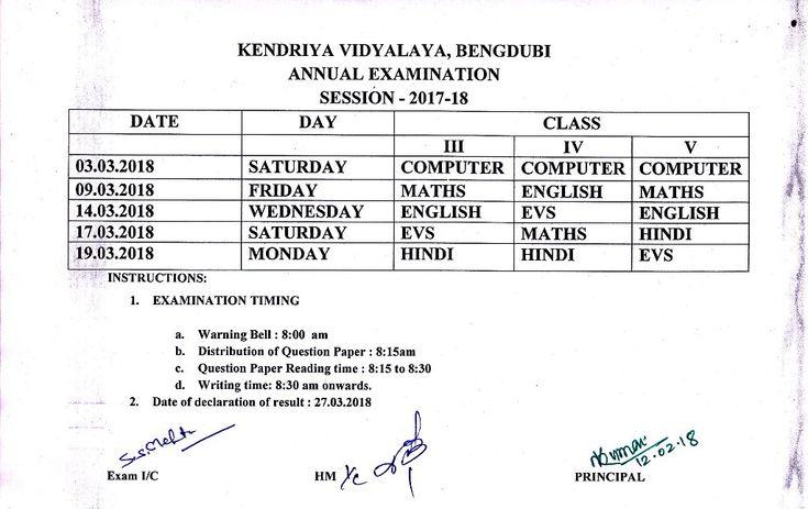 KENDRIYA VIDYALAYA BENGDUBI :: Exam Schedule