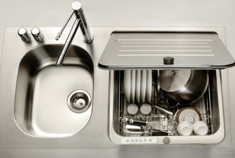 Here is a great idea for small spaces and perhaps even a LifeEdited: a dishwasher integrated with the kitchen sink. It just makes so much sense to integrate the wet functions, and top loading is logical when you are dealing with water. The lid becomes