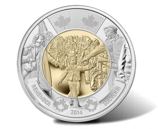 Canadian 2014 $2 Wait For Me, Daddy Circulation Coin - Reverse
