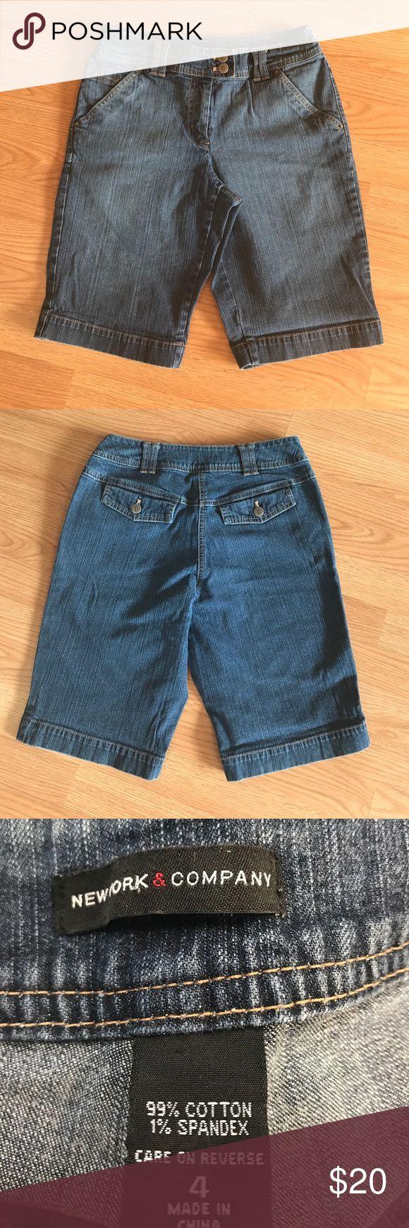 Ladies shorts Ladies denim shorts. Knee length. Has back pockets. Front pockets are faux. 11 inch inseam. 30 inch waist New York & Company Shorts Bermudas