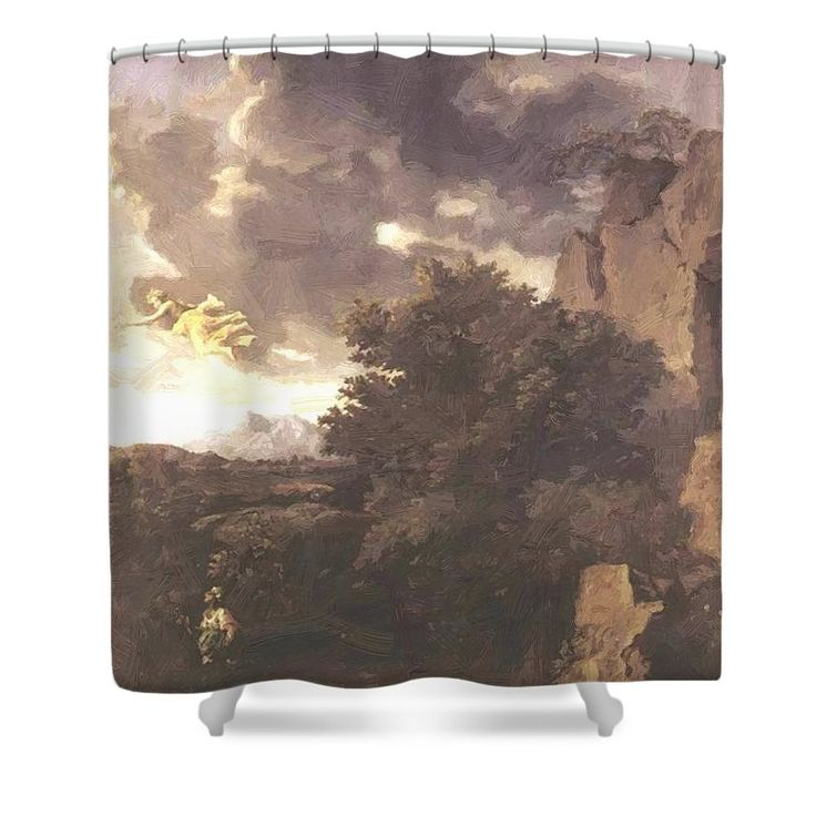 Hagar Shower Curtain featuring the painting Hagar And The Angel by Poussin Nicolas
