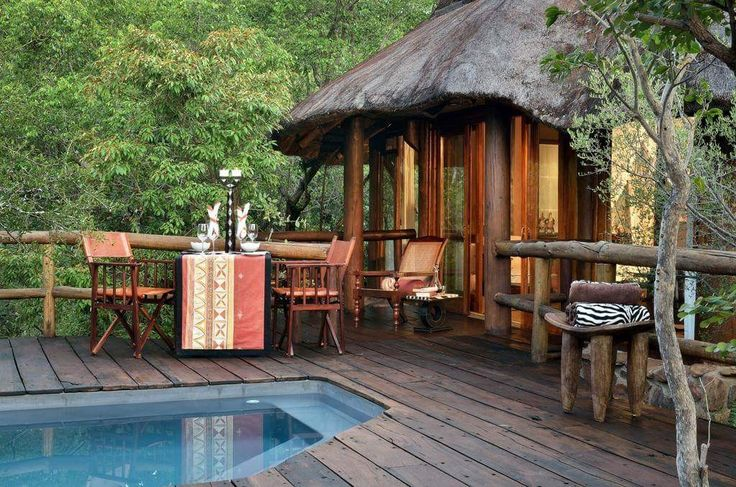 Interesting places to stay in South Africa. Makweti Safari Lodge - At Makweti Safari Lodge you will find an outdoor swimming pool, and guests can relax on the lodge's open lounge and viewing deck, 74 m from the stream-fed waterhole......#wildlife #southafrica #photosafari #tourism #extremefrontiers #bush #adventure #holiday #vacation #safari #tourist #travel