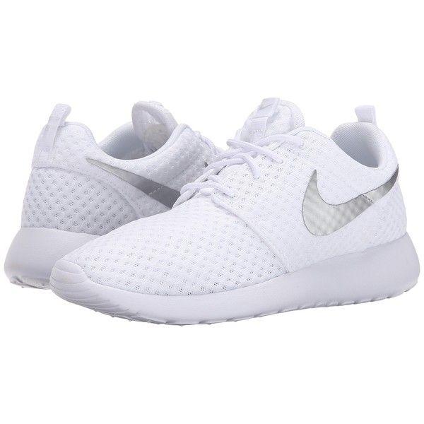Nike Roshe Run (White/Metallic Platinum 2) Women's Shoes ($68) ❤