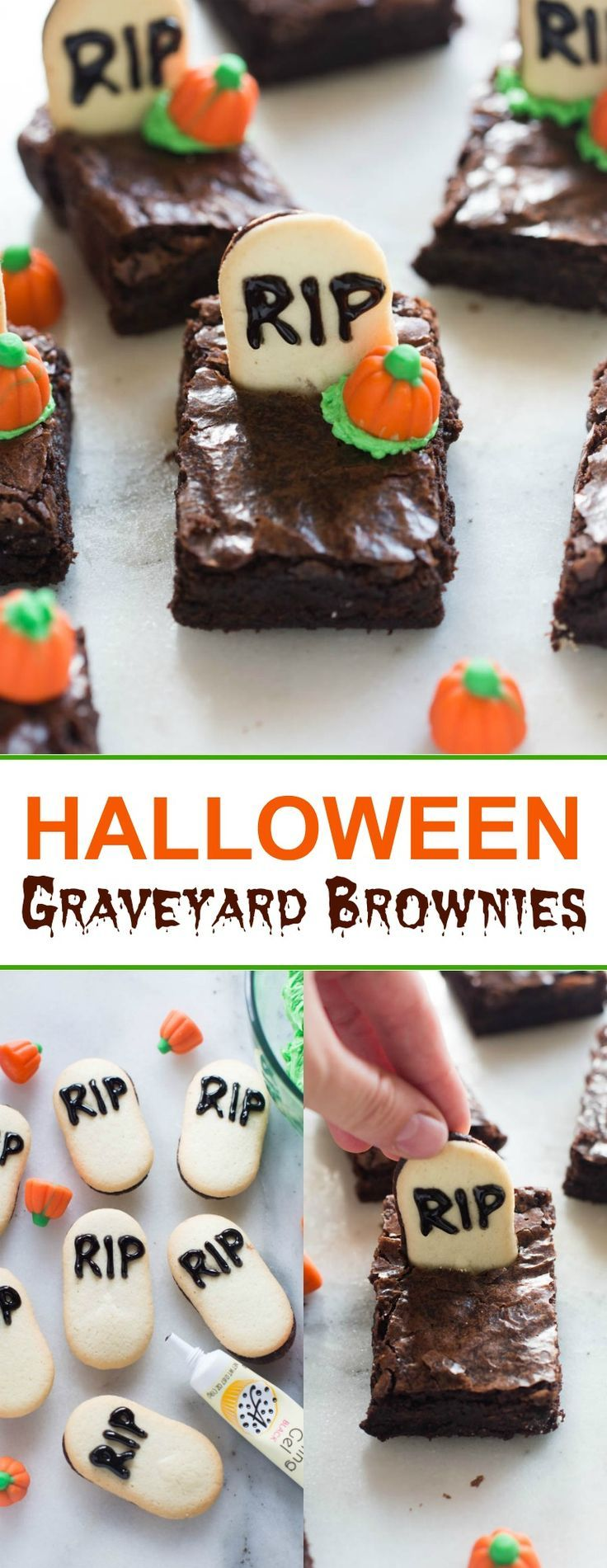 Halloween graveyard brownies are the perfect fun and easy Halloween treat for a party!| tastesbetterfromscratch.com via @betrfromscratch