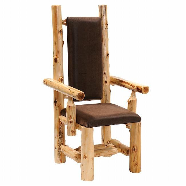 Cedar Log High Back Upholstered Arm Chair