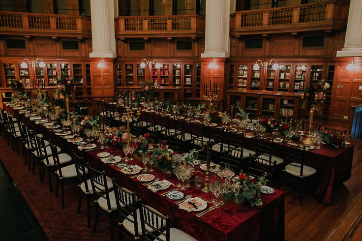 Wedding venue ideas. Cape Town library - Centre for the book. Perfect venue for a dramatic winter wedding feast -  with true opulence.