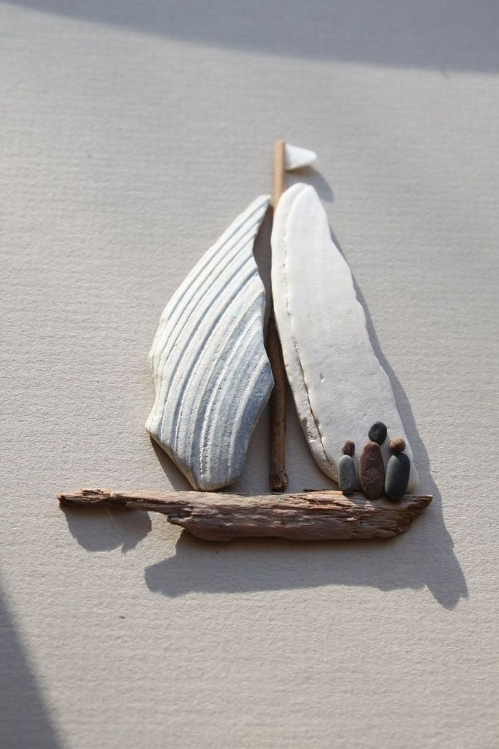 """sharon nowlan pebble art - Why didn't I ever connect broken clam shells with being the perfect """"sails"""" for my driftwood sailboats? DUH! Brilliant!!.....vwr"""