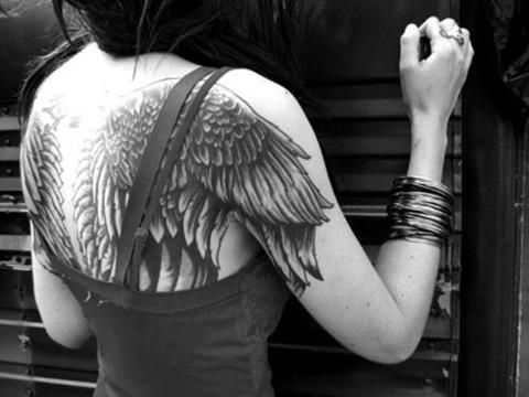 I love wings tattooed on the back, would like to do mine one day......