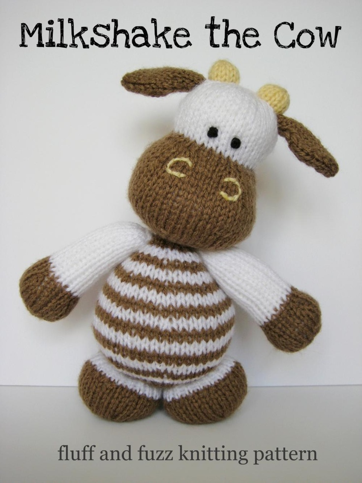 Milkshake the cow knitting pattern - fun and easy to knit toy with this pdf pattern by fluff and fuzz