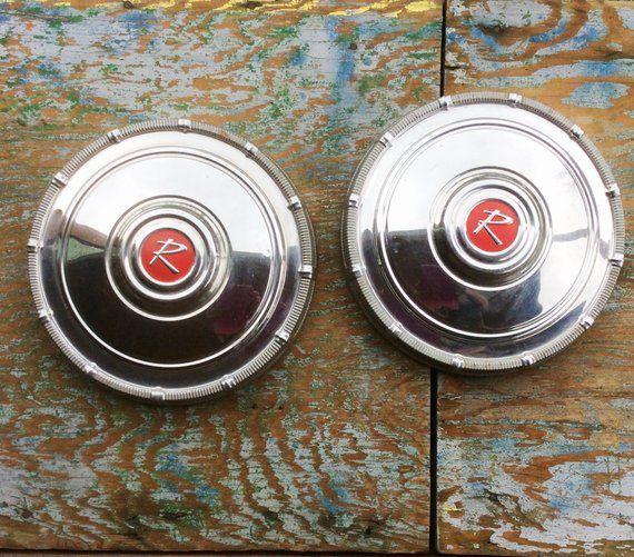 Retro Atomic Pair Amc Eagle Rambler Round Chrome Metal Red 10 Inch Dog Dish Poverty Hub Caps Wheel Covers American Motors 50s Hub Caps Retro Wheel Cover