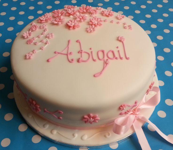 Pink and White Christening Cake