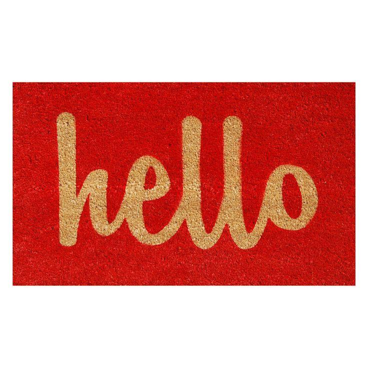 Home & More Hello Script Red Outdoor Doormat - 100302436RNS