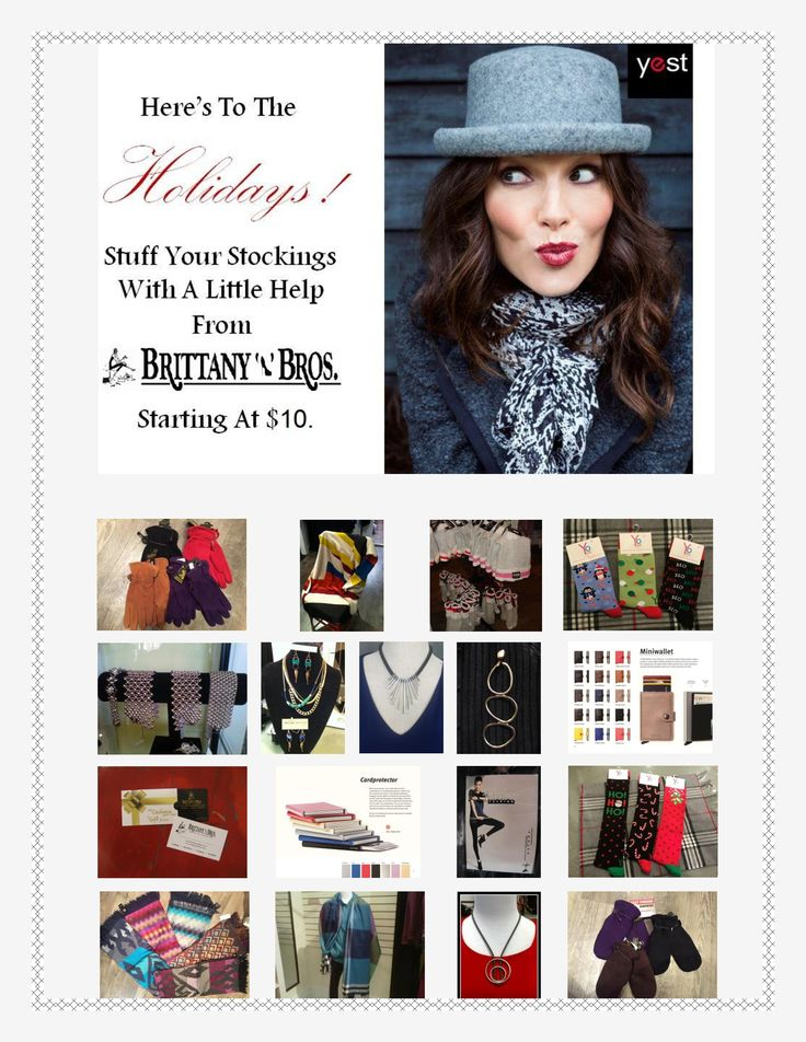 Stocking Stuffers starting at $10 at all Brittany N Bros boutiques - downtown Lindsay, Lakefield, Cobourg & Port Perry!  Every woman wants to be spoiled so let us help you:)  Find us on FB & Twitter and don't forget to sign up for our newsletter at http://www.brittanyandbros.com