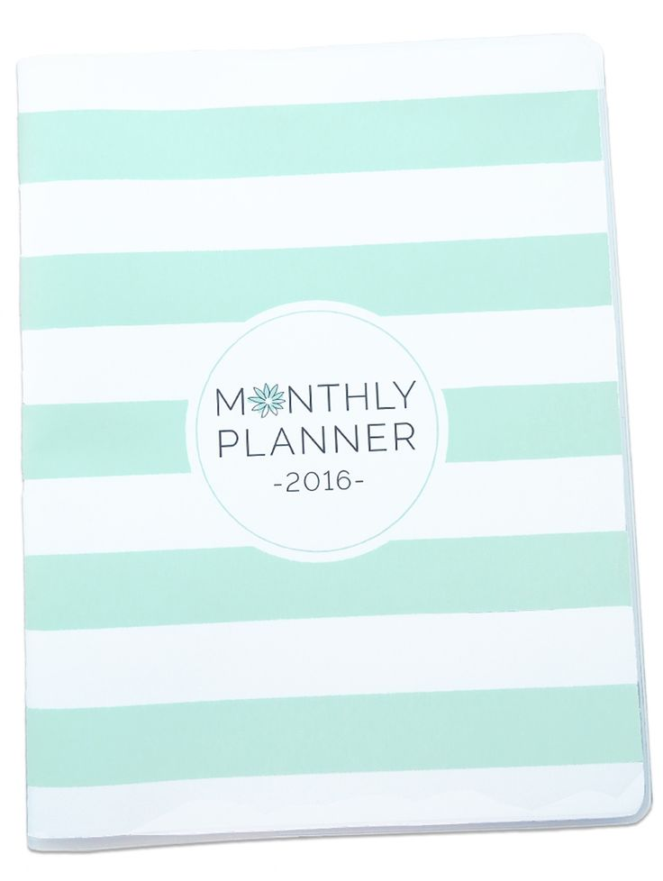 2016 Monthly Planner - Mint Stripes
