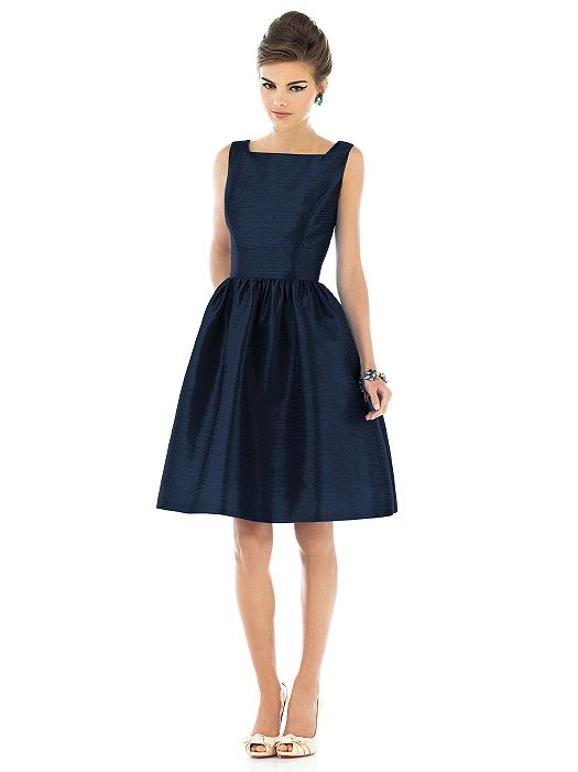 This beautiful bridesmaid dress from the Dessy group is made of dupioni silk. It's short, retro style is perfect for a 1940's-themed wedding!