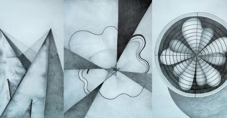 All parts of my triptych, pencil drawing, by Magdalena Leszczyniak