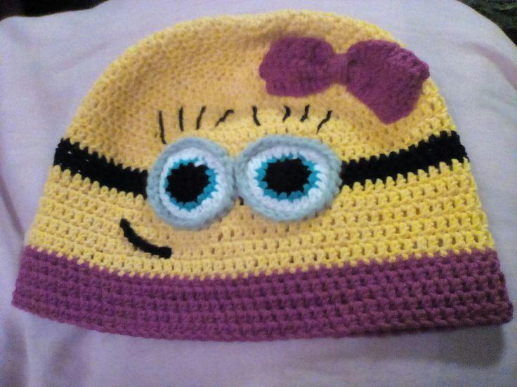Minion crochet hat for girlanda Háčkovaná čepice pro holku Mimoň