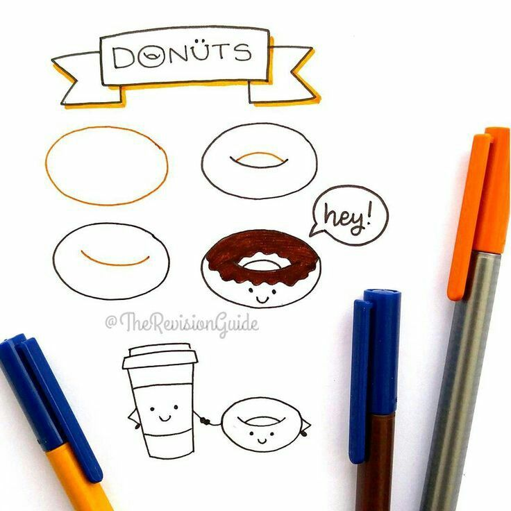 how to draw kawaii donuts