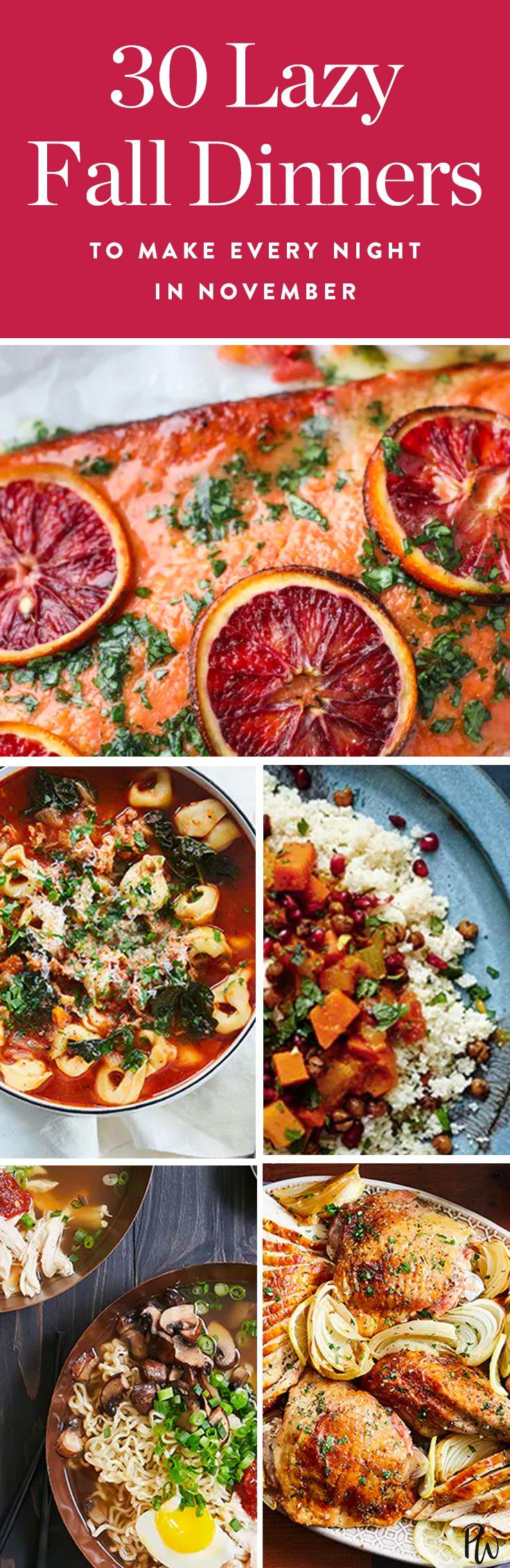 30 Low-Maintenance Dinners to Make Every Night in November (Yep, Even Thanksgiving) via @PureWow via @PureWow