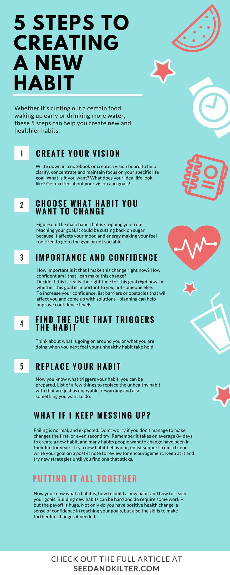 Want to wake up early to go to the gym or stop eating sugar after a meal.. follow these 5 steps to creating a new habit.  Check out the full article at seedandkilter.com