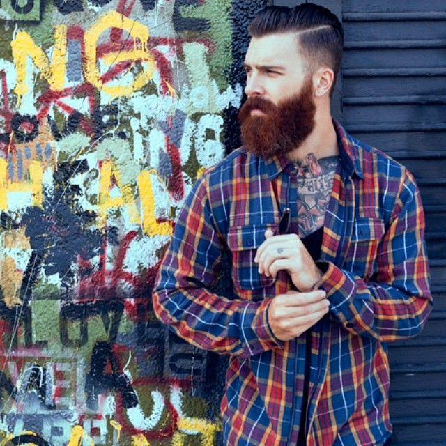 Levi Stocke - full thick dark red beard beards bearded man men mens' street style winter fall fashion good hair cut barber tattoos tattooed redhead ginger auburn handsome