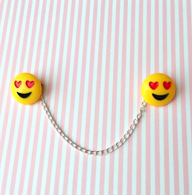 "SALE Handmade ""Emoji Heart Eyes"" Emoji Heart Eyes Collar or Sweater clips/guards with silver chain by FemmeDeBloom on Etsy https://www.etsy.com/listing/505682035/sale-handmade-emoji-heart-eyes-emoji"
