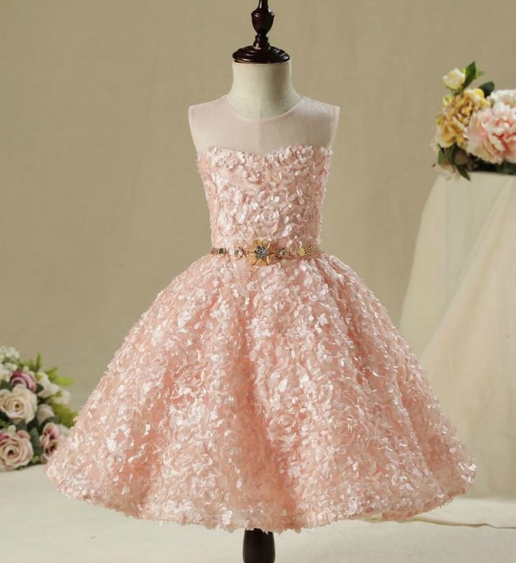 3D Floral Dress---Made To Order - High Quality Beautiful 3D Floral Applique Sheer Round Neckline High low Train Flower Girl Gown With Gold Belt - Available from 2 until 12 years old - Material: Cotton, soft polyester fiber - Color: Pastel Pink - Please do compare your  little girl measurements with our size chart below before deciding her size