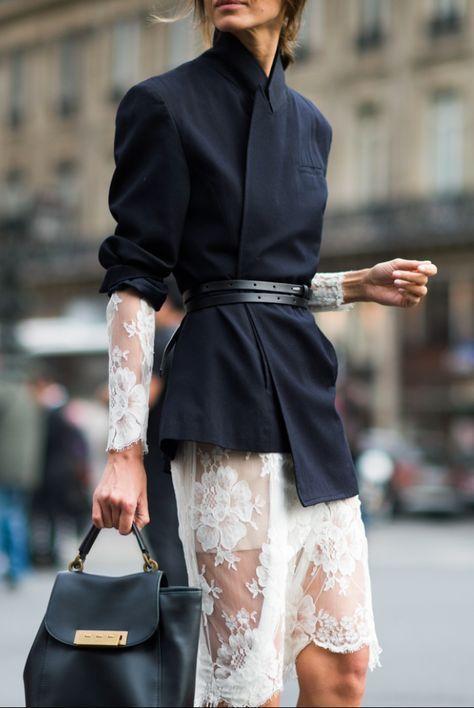 Spitzen- und Marinejacke | Paris Street Style von Tyler Joe (geplant über www.tailwind …