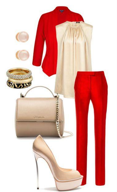 Как носить красные брюки с жакетом
