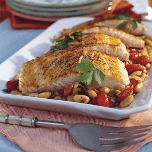 "Mediterranean Salmon With White Beans        (lean protein)  ................... What does #Ke$ha eat to stay fit? ""Eighty percent of the time I watch my portions and eat veggies and lean protein."" #SelfMagazine"