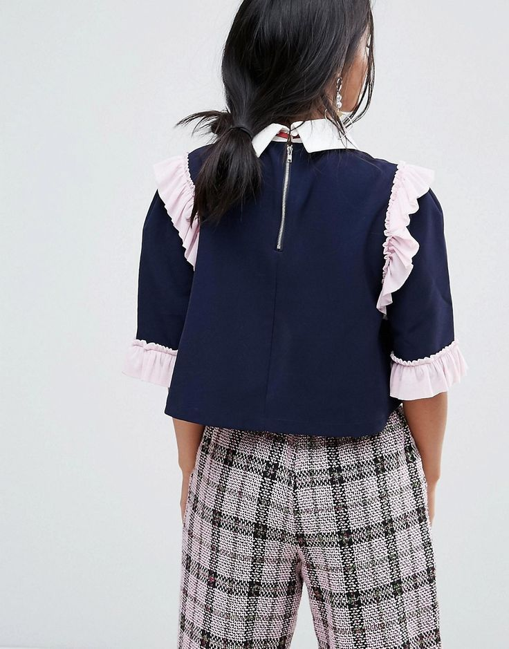 Sister Jane Petite Blouse With Embellished Tie - Navy