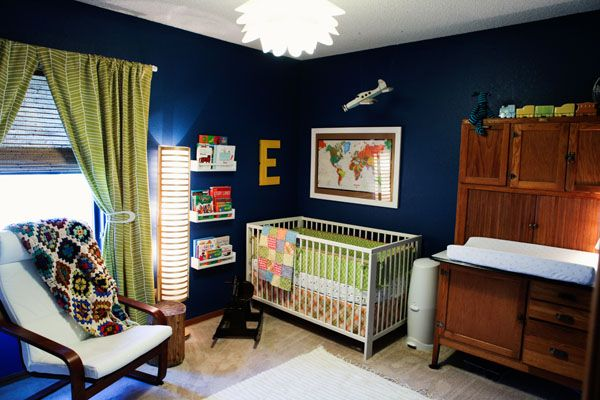Modern Nursery with Vintage Accents - #navy: Baby Blue, Wall Colors, Colors Combos, Navy Curtains, Boys Nurseries, Bold Blue, Lights Green Wall, Baby Nurseries, Blue Nurseries
