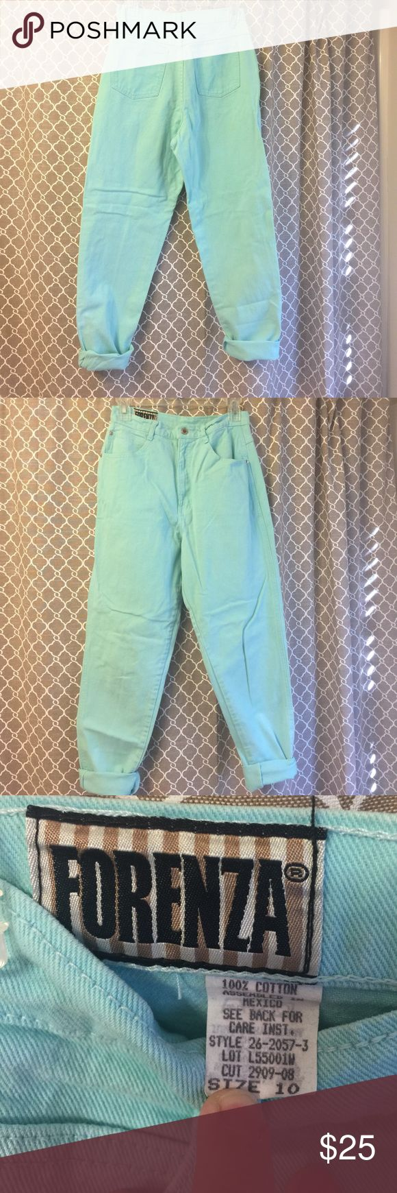 "80's Vintage Forenza  high rise aqua jeans Vintage aqua high rise jeans. Very 80's.  28 1/2""inseam waist measures 14"" across forenza Jeans"