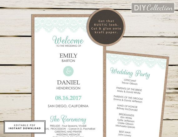 Mint Green Wedding Program Template, Mint and Kraft Program, Beach Wedding Program Template, Wedding Programs Instant Download