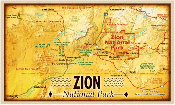 Zion National Park Google Search Zion National Park - Map of zion national park