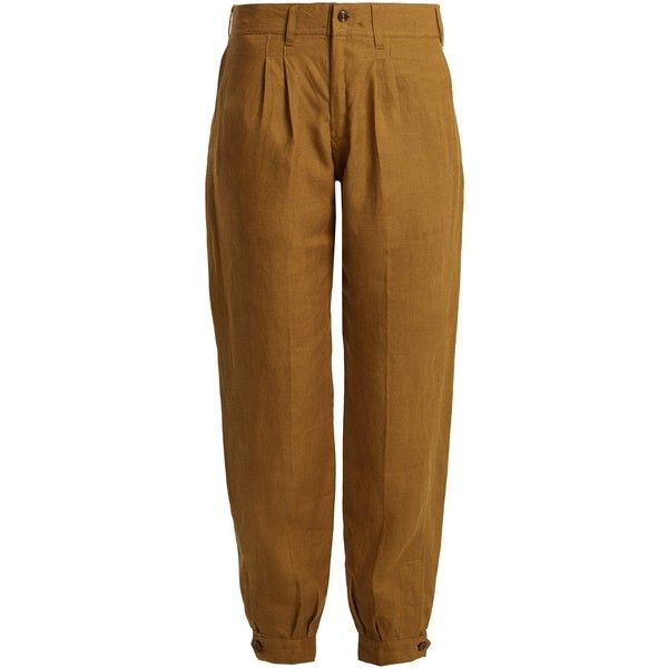 Chufy X Aux Charpentiers tapered-leg linen trousers (£341) ❤ liked on Polyvore featuring pants, dark tan, brown linen pants, tailored pants, peg leg trousers, pleated linen pants and linen pants