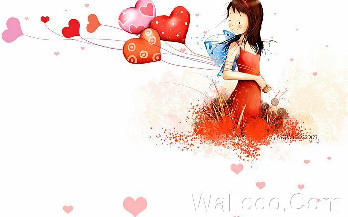 Kim Jong Bok Illustrations(Vol.03) - Cartoon Cute Fairy Girl  - Art Illustration : Cute Cartoon Girl  With Colourful Heart Balloon 26