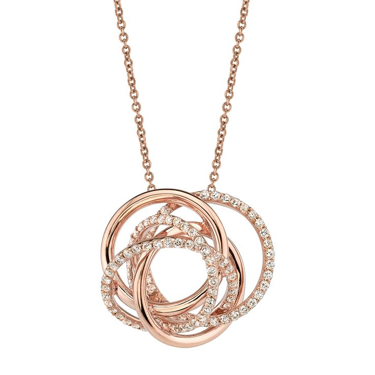 14 Karat Rose Gold 0.77 CTW Swirl Rose Gold Diamond Necklace