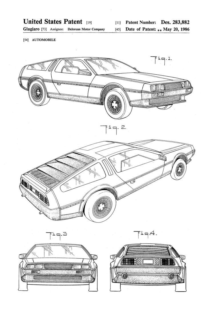Gehen Sie zurück in die Zukunft mit einem Patent print Poster von einem 1986 Delorean erfunden und entworfen von Giugiaro für Delorean Motor Company. Das Patent wurde durch das Patentamt der Vereinigten Staaten am 20. Mai 1986 erteilt. Patent Drucke können Sie haben ein Stück