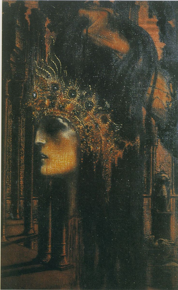 Une Fin de règne, 1893   by Jean Delville (Belgian 1867-1953) oil on canvas, 87.5 x 57.5, Private collection