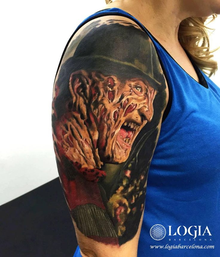 Φ Artist ÁNGEL DE MAYO Φ Info & Citas: (+34) 93 2506168 - Email: Info@logiabarcelo... www.logiabarcelon... #logiabarcelona #logiatattoo #tatuajes #tattoo #tattooink #tattoolife #tattoospain #tattooworld #tattoobarcelona #tattooistartmag #tattoosenbarcelona #ink #arttattoo #artisttattoo #inked #inktattoo #tattoocolor #retrato #portrait #tattooartwork #realismo #terror #movies #fear #freddy