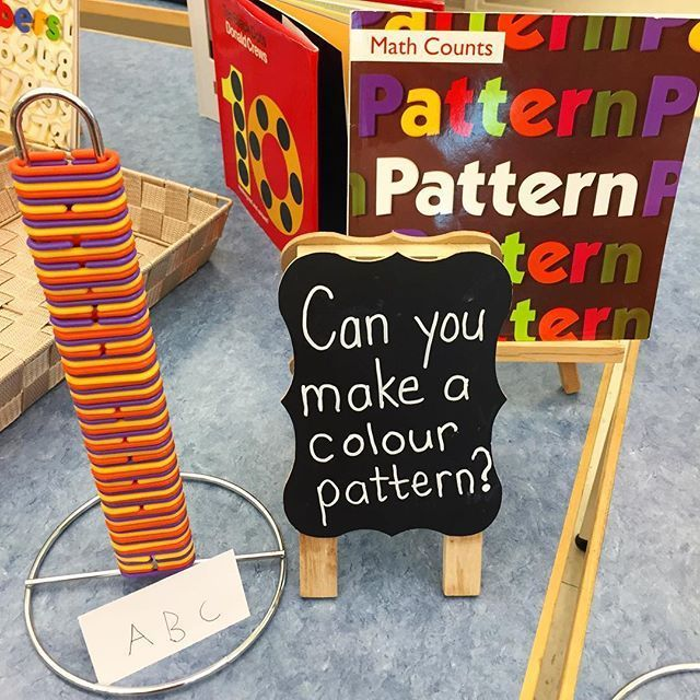 Welcome to Kindergarten 2017. Sharing children's love of patterns - an essential building block in understanding numbers & relationships. Love how these math links fit perfectly onto dollar store paper towel holders. #teachingchildrenmathematics