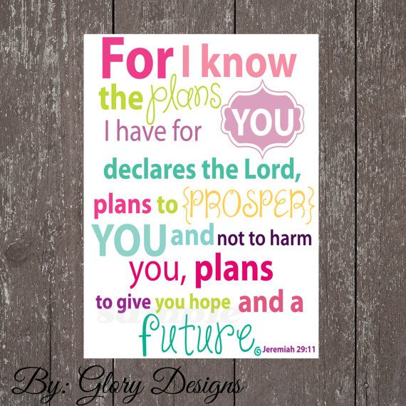 For Abigaile's Room!  Scripture Art bible verse Jeremiah 2911  Digital by glorydesigns, $6.00