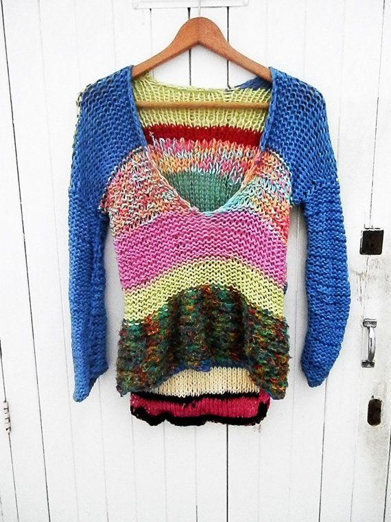 Jersey de punto colorido por armarioenruinas en Etsy, €22.00