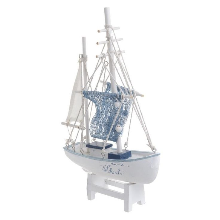 WOODEN BOAT IN WHITE/BLUE COLOR 29.5X6X20 - Metallic - Minatures - DECORATIONS - inart